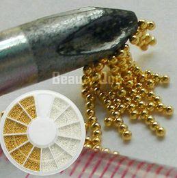 Wholesale Nails Tiny Balls - Gold Golden Silver Steel 1mm Bean Bead Tiny Mini Micro beads Ball Wheel Nail Art 3D Tip Decoration