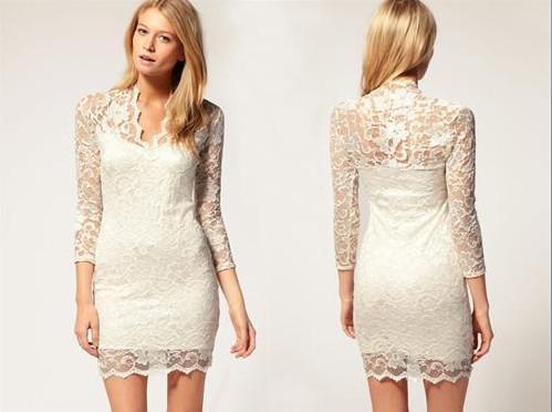 TOP V -NECK 3/4 드레스 레이스 블랙 레이스 칵테일 드레스 드레스