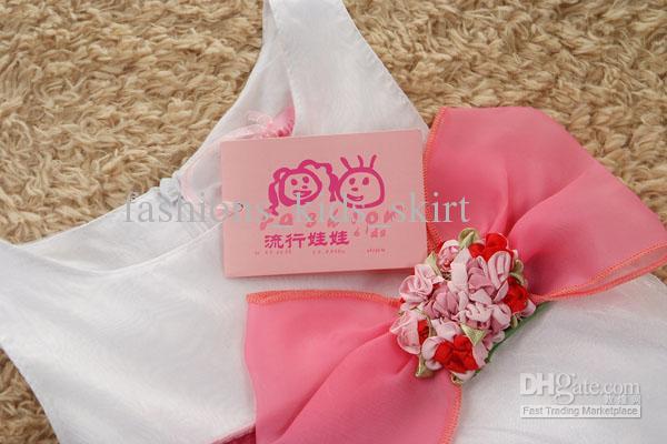 Sweet printing flower bow cotton polyester white girl dress round neck sleeveless girl dresses 6pcs