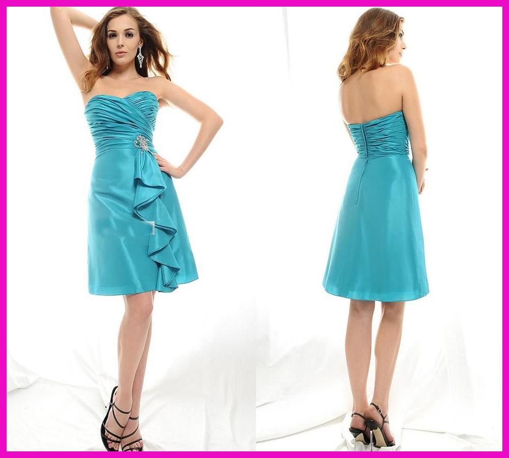 2016 Fashion Turquoise Sweetheart Short Discount Bridesmaid Dresses ...