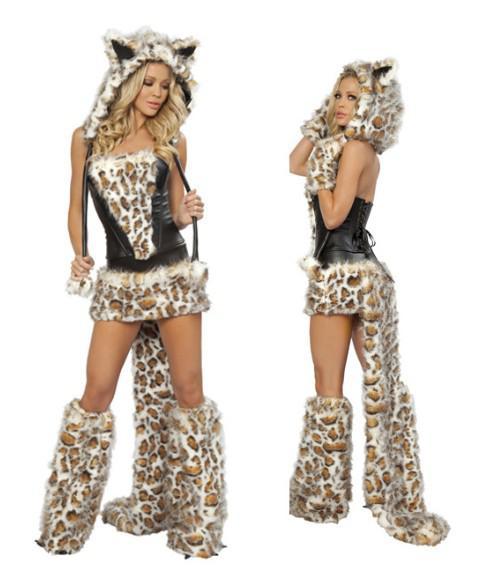 Sexig Furry Leopard Print Furry Halloween Kostym Cos Catwomen Cat / Wolf / Leopard Nattklubb Kläder Party Christmas Wear Set Present