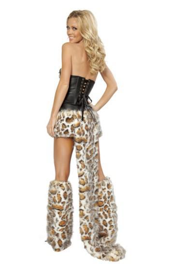 Pelz-Leopard-Druck-Pelz-Halloween-Kostüm Halloween-Katze / Wolf / Leopard-Nachtklub-Kleidung COS-Catwomen-Partyweihnachtskleid-Abnutzungsgeschenk