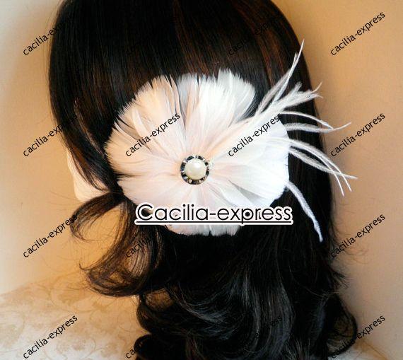 WHITE BLOSSOM Fascinator Head Piece, Feather Hair PIece, Hair Accessory, feather hair clip 12pcs