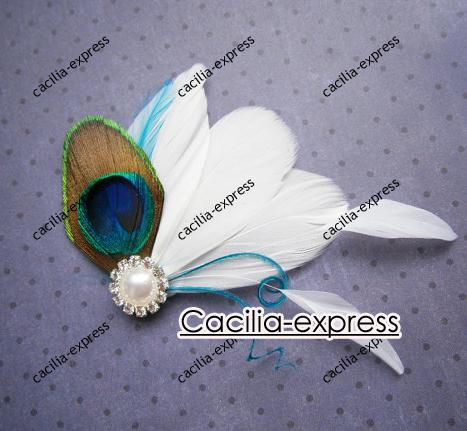 Peacock Bridal Fascinator, Peacock Feather hair clip, Wedding Hair Accessory Feather Hair Piece