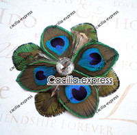 Wholesale Peacock Bridal Fascinator - Peacock Bridal Fascinator, Peacock Feather hair clip, Hair Accessory Feather brooch 10pc