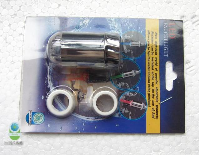 10個/ロット3色LED蛇口軽水ストリーム蛇口タップ、+アダプター、8001-A2、Freeshipping