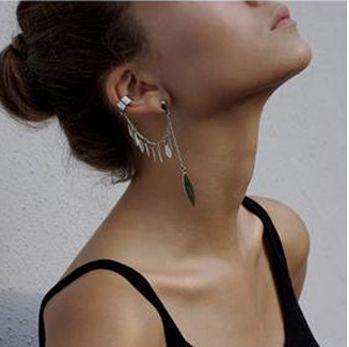Mode punk omringen blad oorbellen