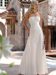 Aline Beach Wedding Dresses Pas Cher-2012simple Aline étage longueur Satin perles Beach Wedding Dresses sans bretelles