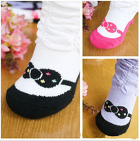 Wholesale Baby Fake Shoes - Fake shoes and lace sock to relent cotton sox white baby socks kids wear.(30 60)pcs lot.