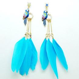 Wholesale Parrot Blue - Parrot Hoop Drop Earings Glaze Parrot Bird Feather Earrings