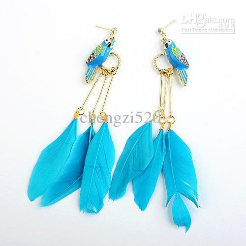 Papegoja hoop drop earings glasyr papegoja fågel fjäder örhängen