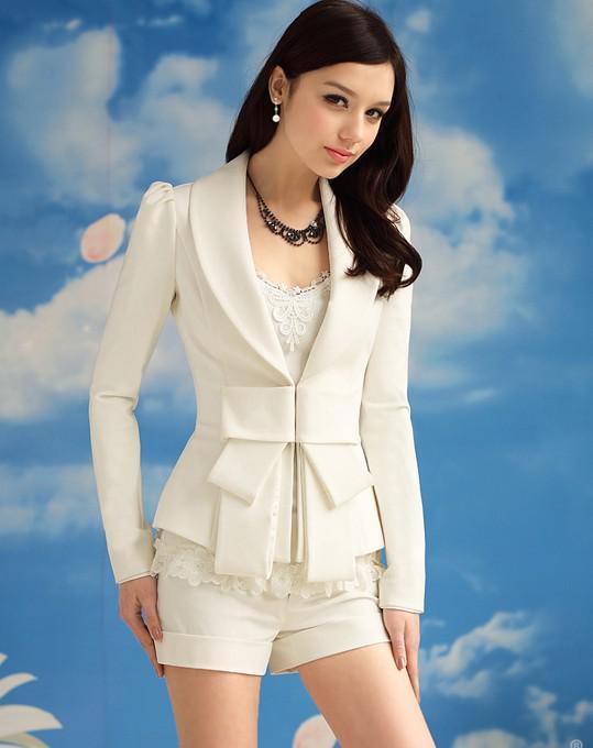 Vit jacka kostym kontors dam eleganta kvinnor