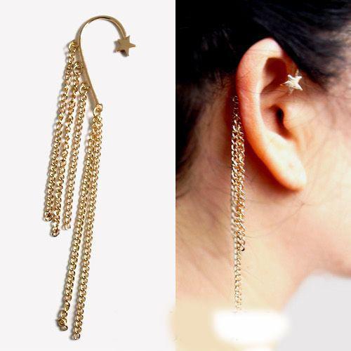 Gouden Star Oor Hanging Kwasten overdreven doorboorde oorbellen