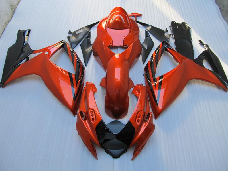 SUZUKI GSXR 용 레드 블랙 페어링 바디 키트 600 750 06 07 K6 GSXR600 GSXR750 2006 2007 오토바이 페어링 세트 +7 개 선물