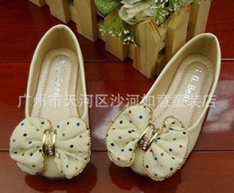 Wholesale Studded Shoes Wholesale - Korean Style Children's Shoes Girls Pearl Diamond-Studded Flats Bowknot Galoshoes cream Sizes:24-35