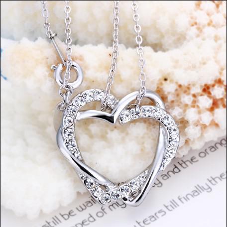 Haute qualité plaqué 18K Platinum Gold tchèque diamant pendentif coeur collier livraison gratuite 10pcs / lot