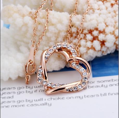 Haute qualité plaqué or rose 18K cristal pendentif coeur collier mode bijoux livraison gratuite 10pcs