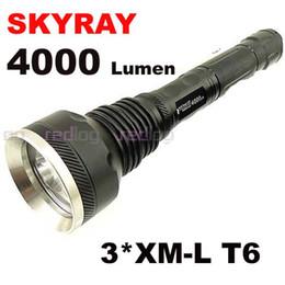 Wholesale New High Powered Led Flashlights - 2012 New 1PC SKY-RAY 818 Flashlight 5 Mode 4000 Lumens 3*CREE XM-L XML LED Extendable High Power