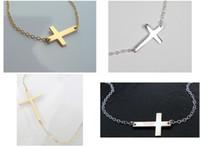 Wholesale Wholesale Sideways Cross Necklaces - Free Shipping 60pcs lot Alloy Horizontal Sideways Cross Necklace Gold   Silver Select