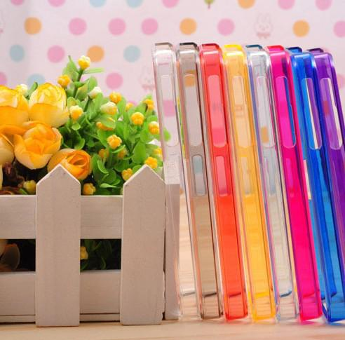 Free Ship 50 Pieces Candy Color Ultra-slim Bumper Frame Case for iPhone 4 4S with Opp Bag Package