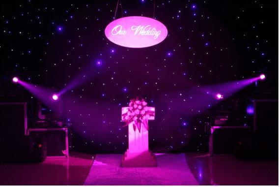 LED ljuseffekter stor stjärna gardin 4M * 6M Star Colth Stage Drapes Blå-vit färg med belysningsstyrenhet LED Vision Currain