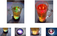 Wholesale Led Color Changing Light Coasters - 20pcs lot New Color Changing LED Light Drink Bottle Cup Coaster Free shipping