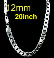 Wholesale Sideways Jewelry - 925 silver Free shipping trendy fashion high quality classic perfect Extravagant men 12MM flat sideways necklace jewelry holiday gifts N202