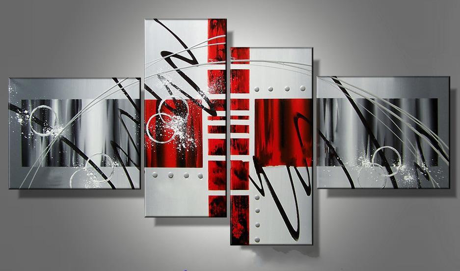 Arte Moderna Pintura A Óleo Abstrata Tetraptych Museu Qualidade Pintura Presente Perfeito Decoração Da Casa Legal