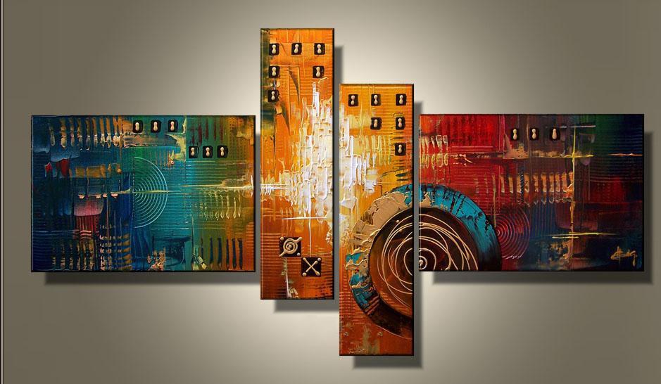 아트 현대 추상 유화 박물관 품질 회화 60x40cm x 2 20x75cm x 2 뜨거운 판매 벽 장식