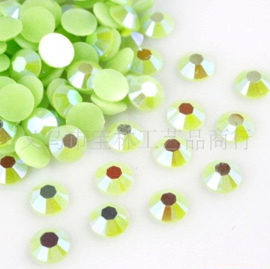 3mm Resin Jelly Light Green AB Craft Pärlor Flatback 14-Facetter Scrapbooking Sy DIY