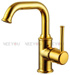 Wholesale Titanium Gold Plated Faucet - Bathroom Sink faucet brass Titanium gold plate basin mixer 360 degree rotate water tap NY04515