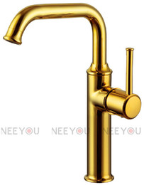Wholesale Titanium Gold Plated Faucet - Bathroom Sink faucet brass Titanium gold plate basin mixer 360 degree rotate water tap NY04516