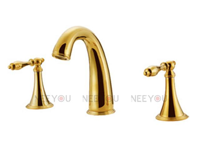 Bathroom Faucet Brass 2017 basin faucet pure brass bathroom tub mixer titanium gold