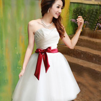 Wholesale Taffeta Lace Skirt - Bridesmaid dress back lace up new dress short paragraph bridesmaid dress to perform wedding skirt 261