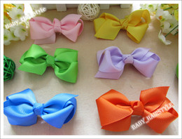 Wholesale Wholesale Cotton Clip Ties - 11 Color U-Pick Baby Tie Girl's (3 inch Butterfly Bows +Duck Clips) Children Hair Accessories 30pcs