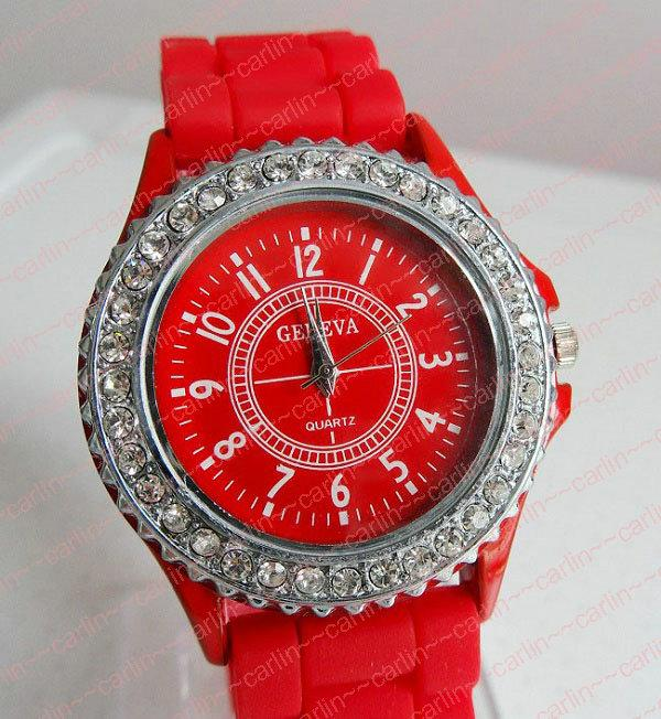Geneva Watches Diamond Crystal Face Silicone Jelly Candy