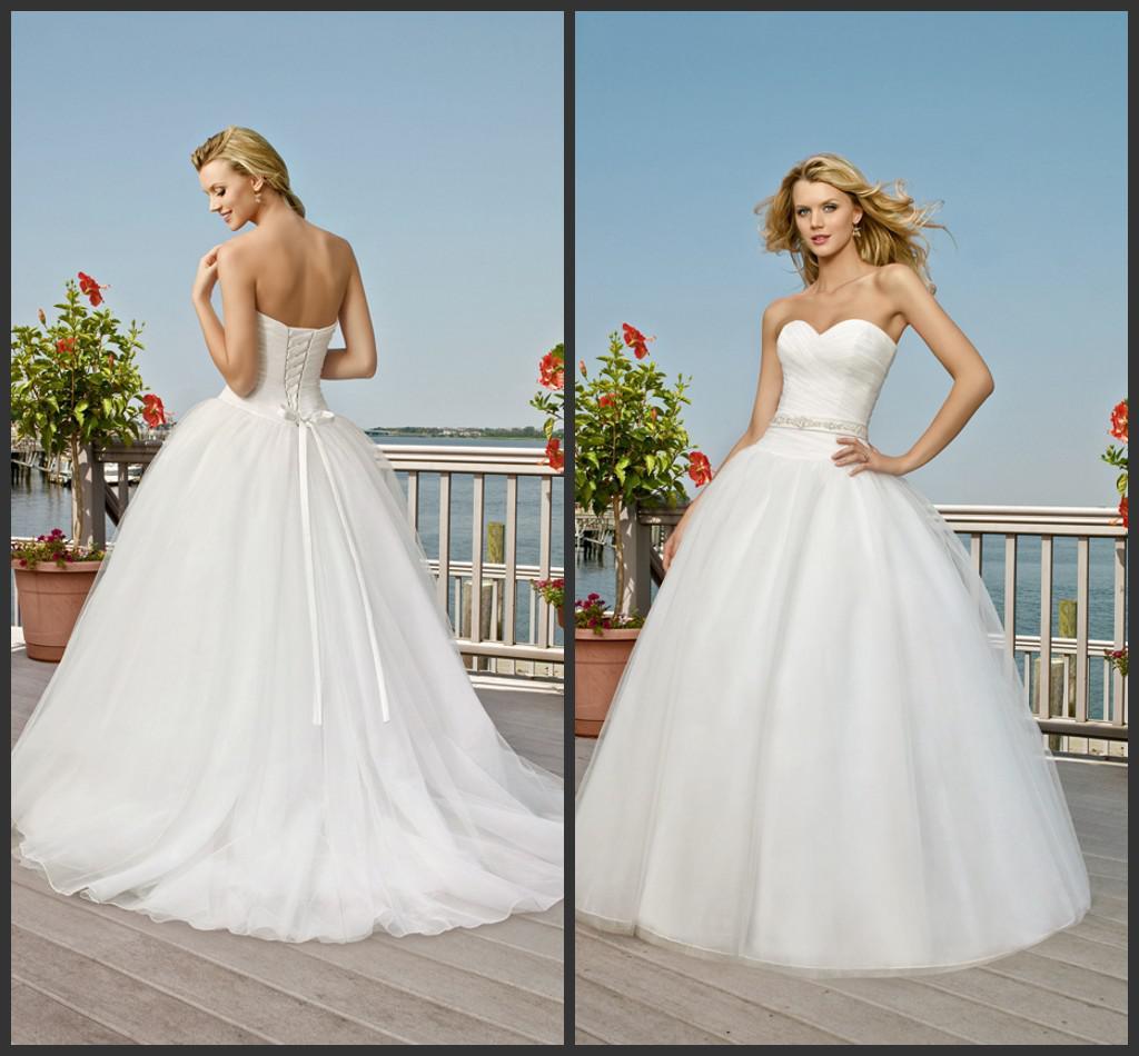 White Beach Wedding Dress Sweetheart Drop Waist Princess