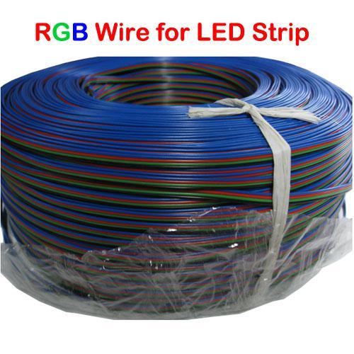 50 meter RGB Strip Anslutningstråd UL1007 22AWG förlängningssladd till kontakt 5050 RGB LED-bandljus