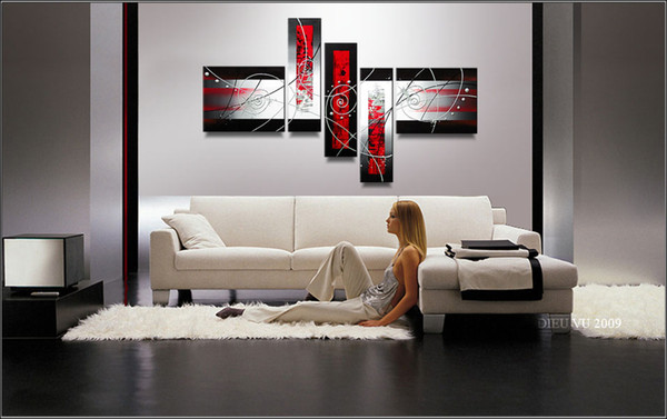 best selling Art Modern Abstract Oil Painting Handpainted Cool Painting Pentaptych Multiple Piece Canvas Art Sets