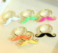 Wholesale Singer Wholesale - 36pcs Free shipping wholesale Handlebar Moustache Singer Finger Ring Colorful Afanty Moustache Rings