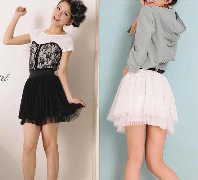 Fresh New Women's Girl Black White Lace Skirt 2 Row Mini Skirt Dress  EF85