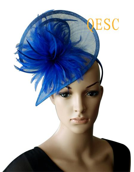 ROYAL BLUE Sinamay Feather Fascinator Hat In SPECIAL Shape With Feathers  For Wedding 2aeabb64676
