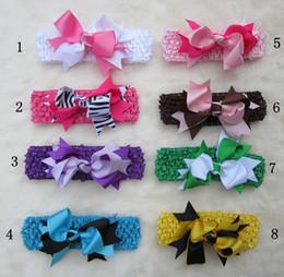 Wholesale Handmade Ribbon Headbands - Girls' Boutique hair bow handmade ribbon hairbows hairband hairclip with crochet headband