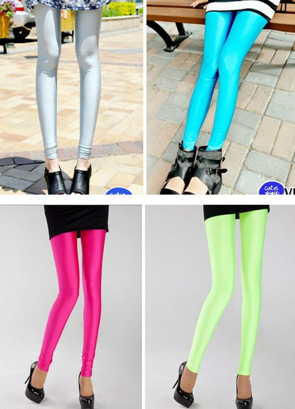 Kostenlose Singapur Post 10 Stück gemischt Candy Farbe Fluoreszenz Candy Leggings Hosen Strumpfhosen