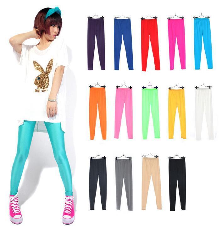 Gratis Singapore Post 10 stycken blandad godis färg fluorescens godis leggings byxor tights