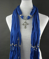 Wholesale Handmade Fashion Scarves Necklace - Wholesale-Fashion 2012 Latest NEW Scarf cross Pendant Necklace scarf necklace LD1