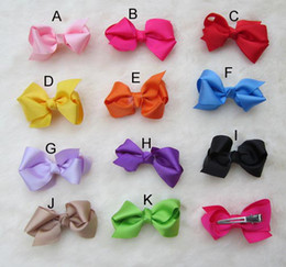 Wholesale Double Prong Clip - Grosgrain Bows with double prong clips covered hairpin Bows Baby Hair bow ribbon bows headband