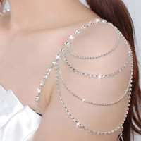 Wholesale Wholesale Traps - 2017 Rhinestone Crystal Wedding Bridal Jewelry Bridal Crystal Dress trap Tassel Belt Fashion Party Bra Strap