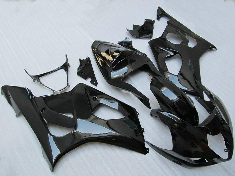 Gratis skepp All Gloss Black Fairing Kit för 2003 2004 GSX-R1000 K3 Helt nytt Body Kit GSXR1000 GSXR 1000 03 04