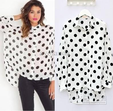 2017 Chiffon Long Sleeve Dot Fashion Casual Women's Long Shirts ...
